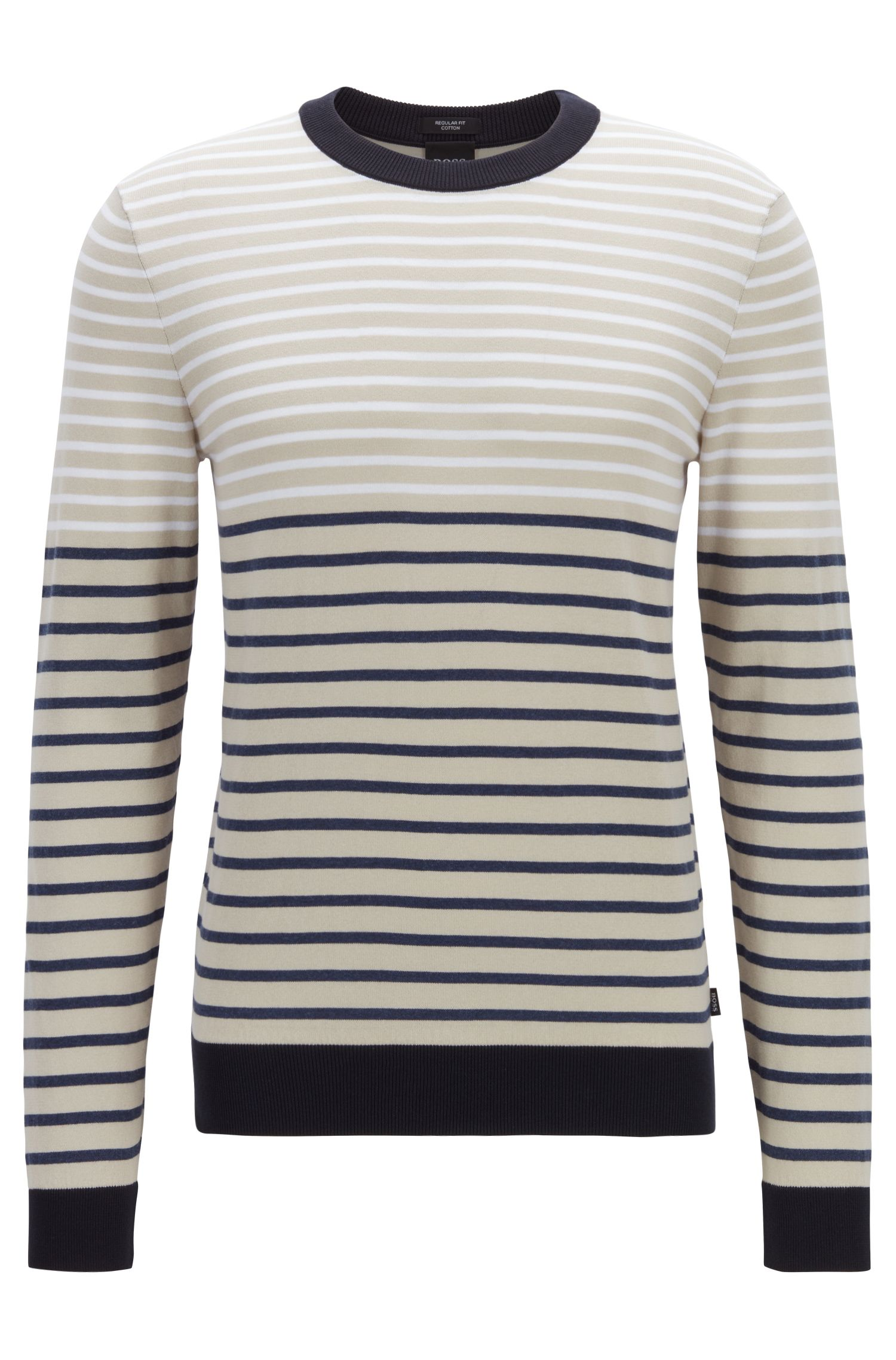 Regular-fit cotton sweater with color-block stripe, Open Blue