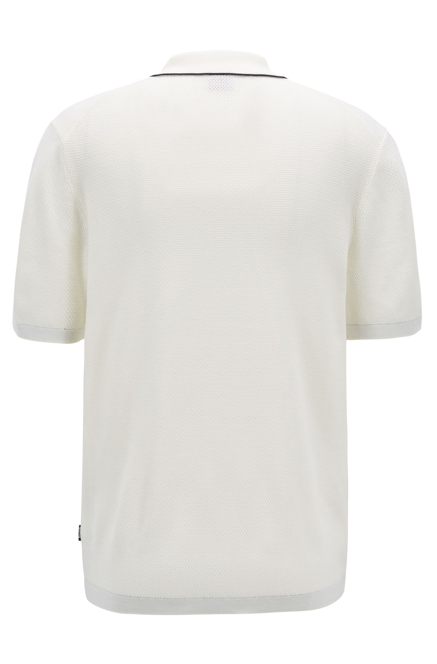 Regular-fit cotton polo shirt with buttonless placket, White