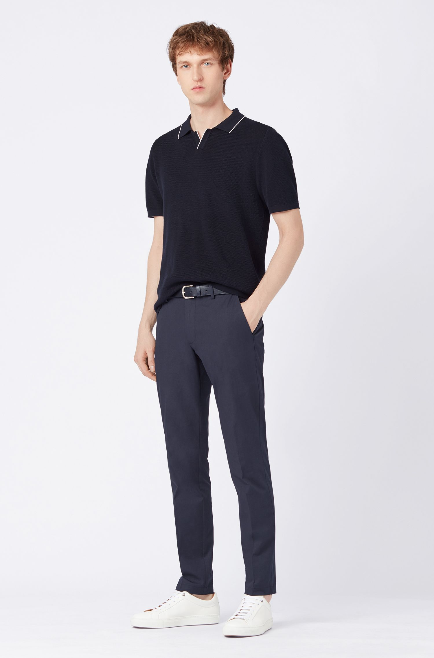Regular-fit cotton polo shirt with buttonless placket, Dark Blue