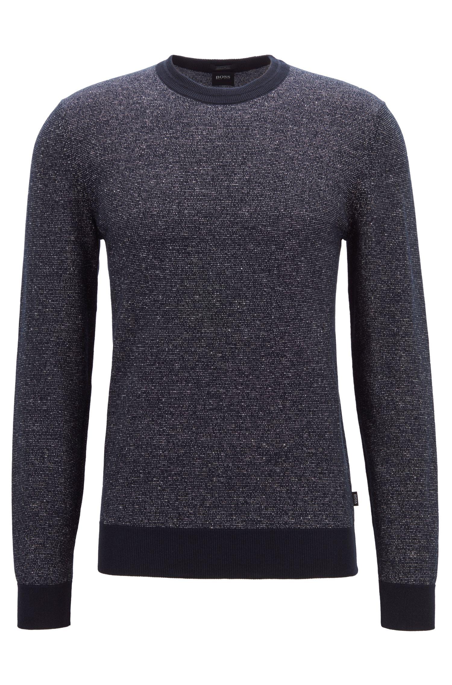 Knitted sweater in a two-tone cotton-linen blend, Dark Blue