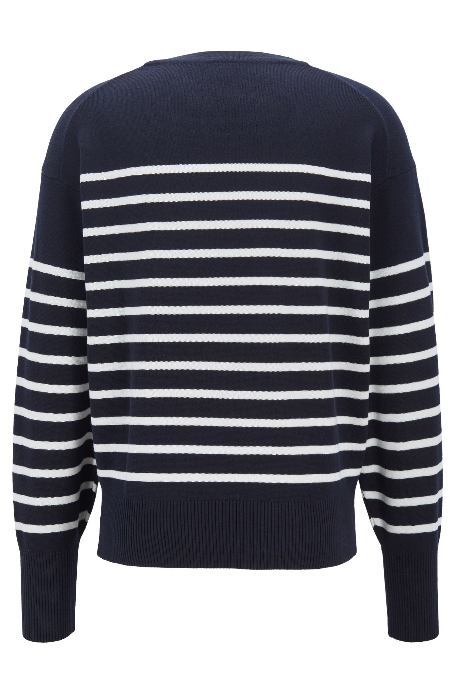 Striped cotton sweater with overlapping neckline, White
