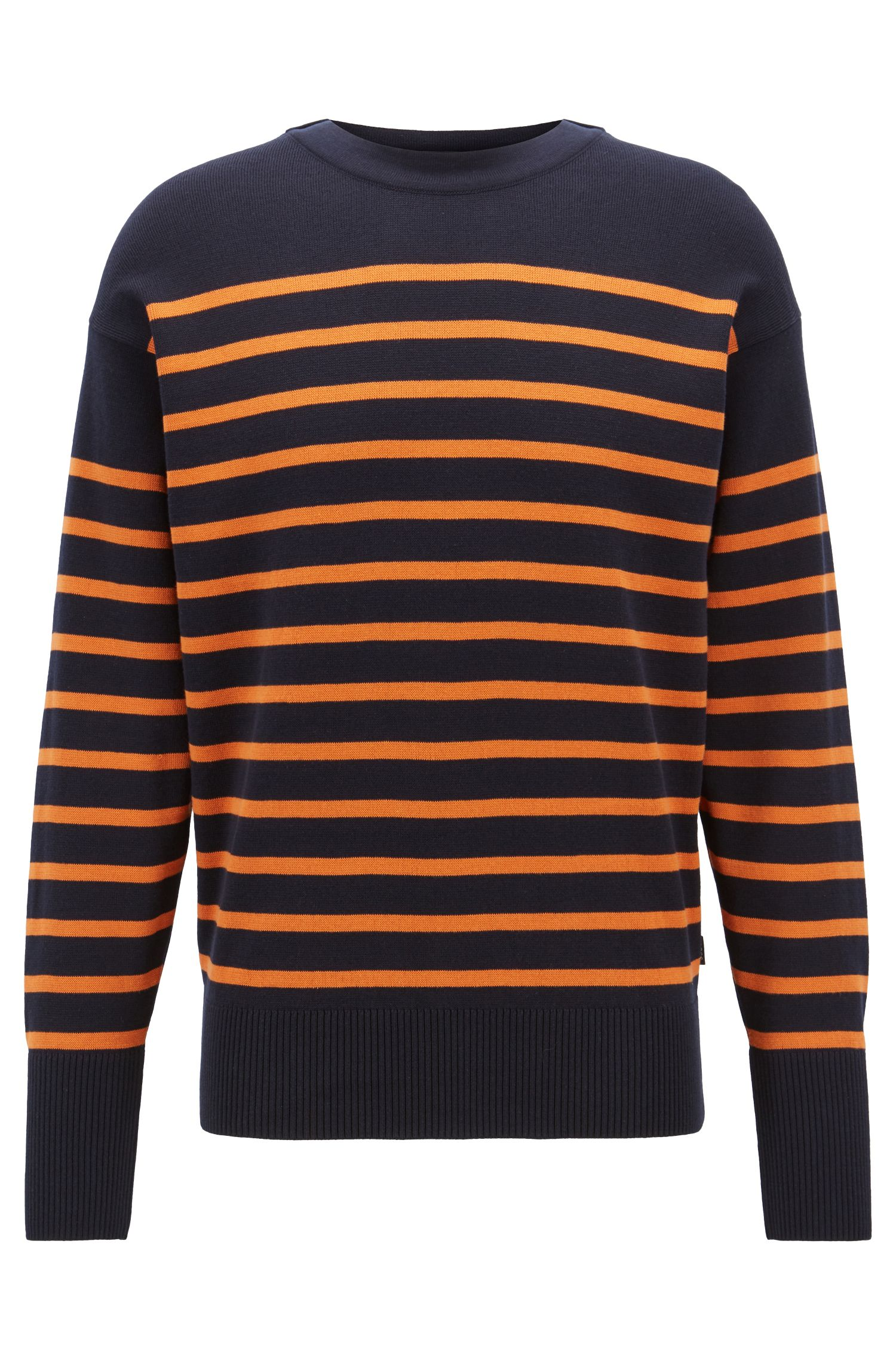 Striped cotton sweater with overlapping neckline, Orange
