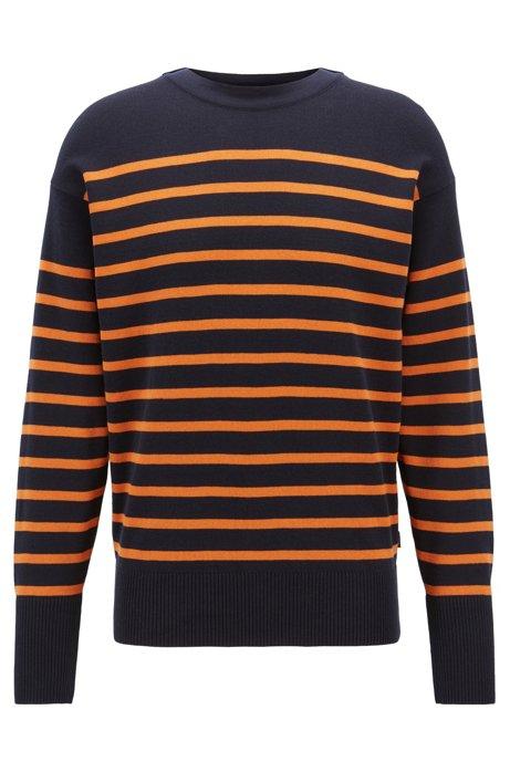 Striped cotton sweater with overlapping neckline, Orange