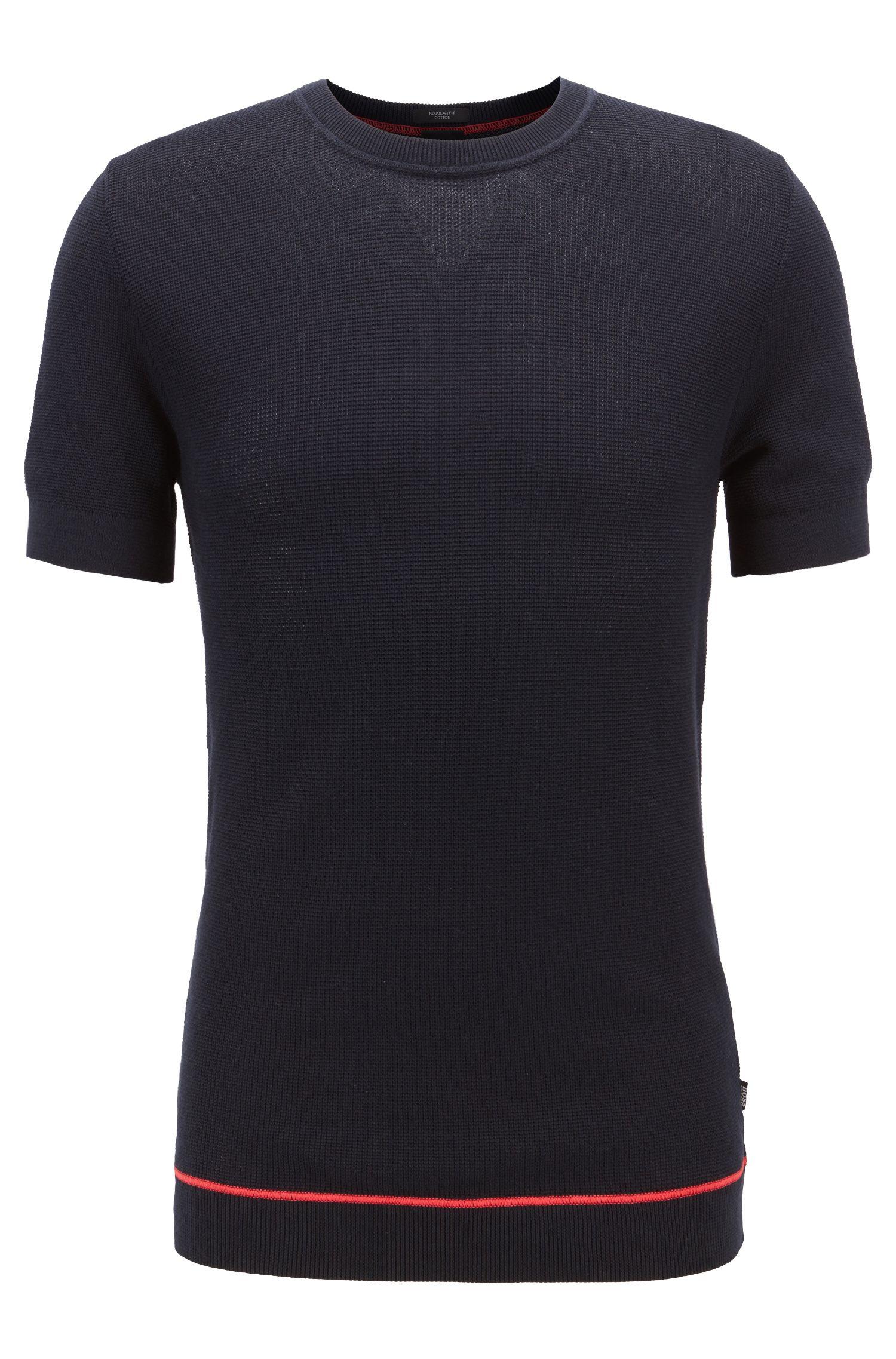 Short-sleeved sweater with contrast flatlock stitching, Dark Blue
