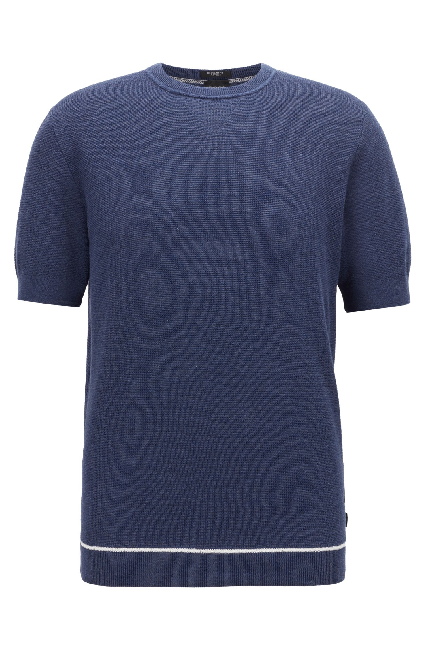 Short-sleeved sweater with contrast flatlock stitching, Open Blue