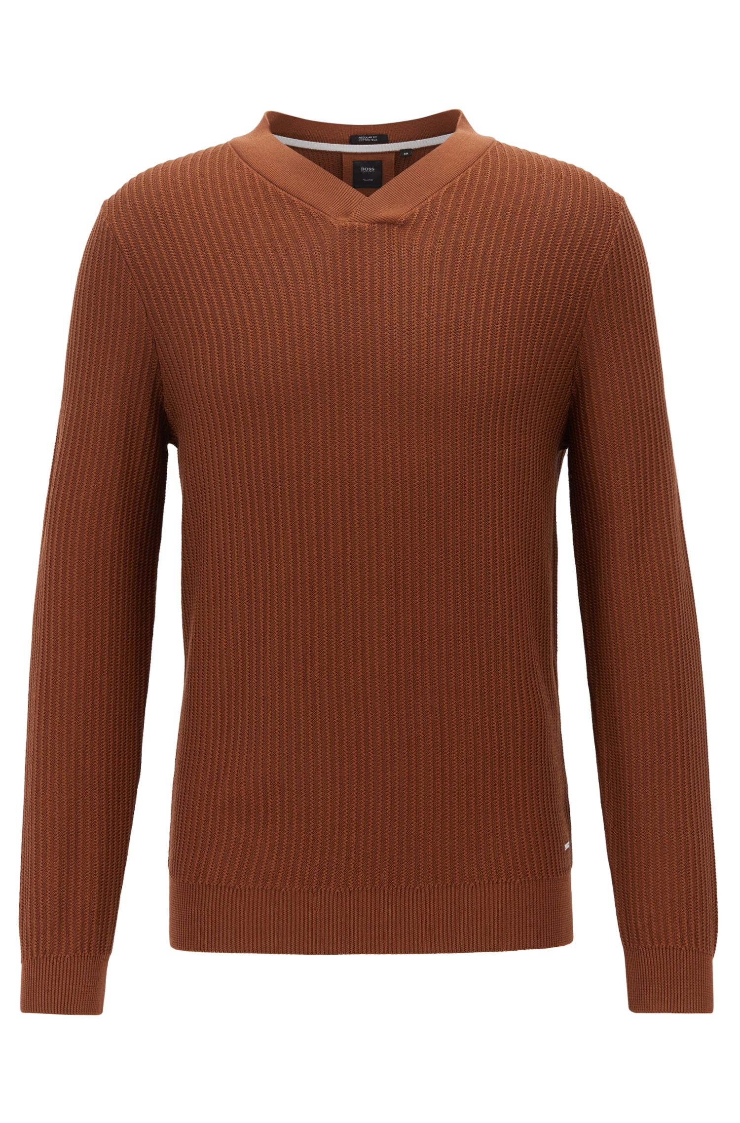 V-neck sweater in silk with cotton, Brown