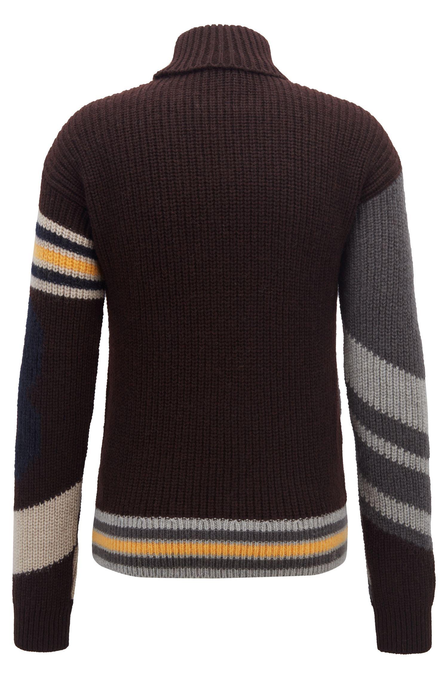 Fashion Show Capsule turtleneck sweater with baseball intarsia, Open Grey
