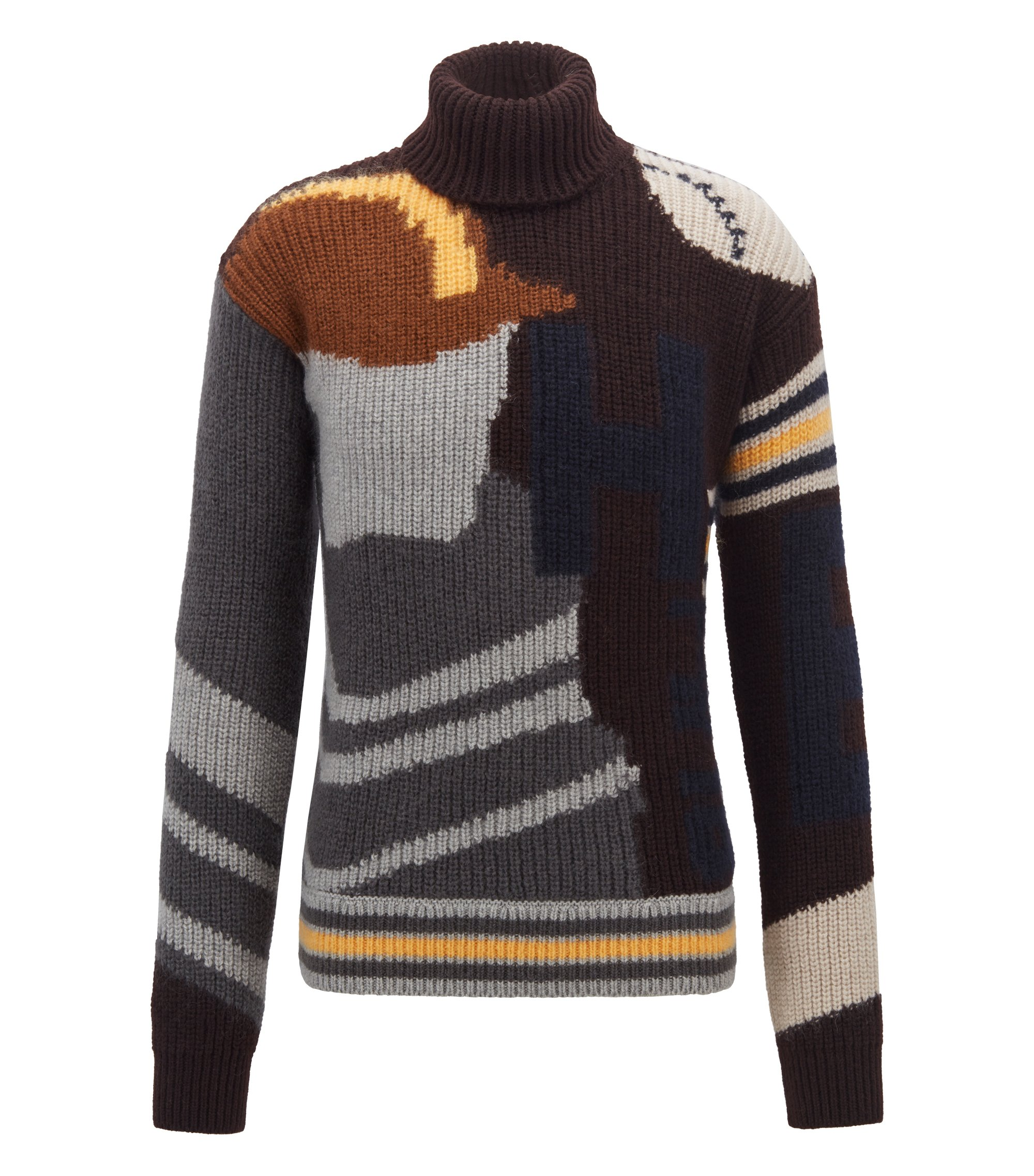 Fashion Show Capsule turtleneck sweater with baseball intarsia, Open Grey