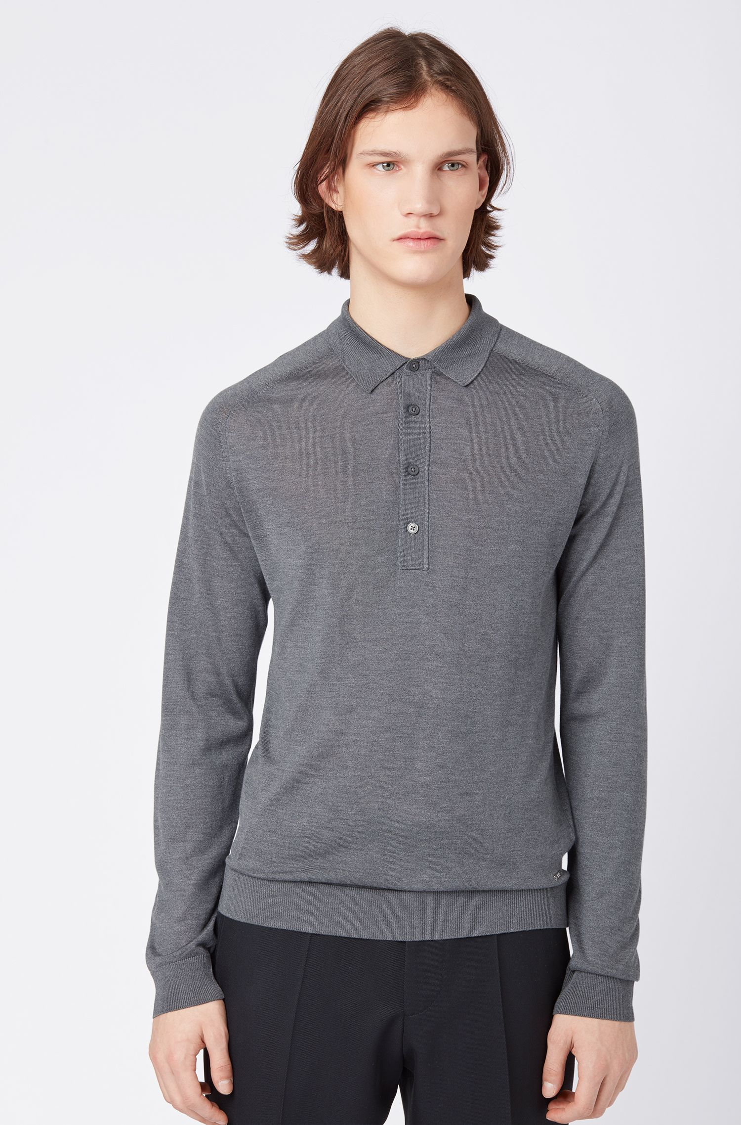 Slim-fit long-sleeved polo shirt in silk, Grey