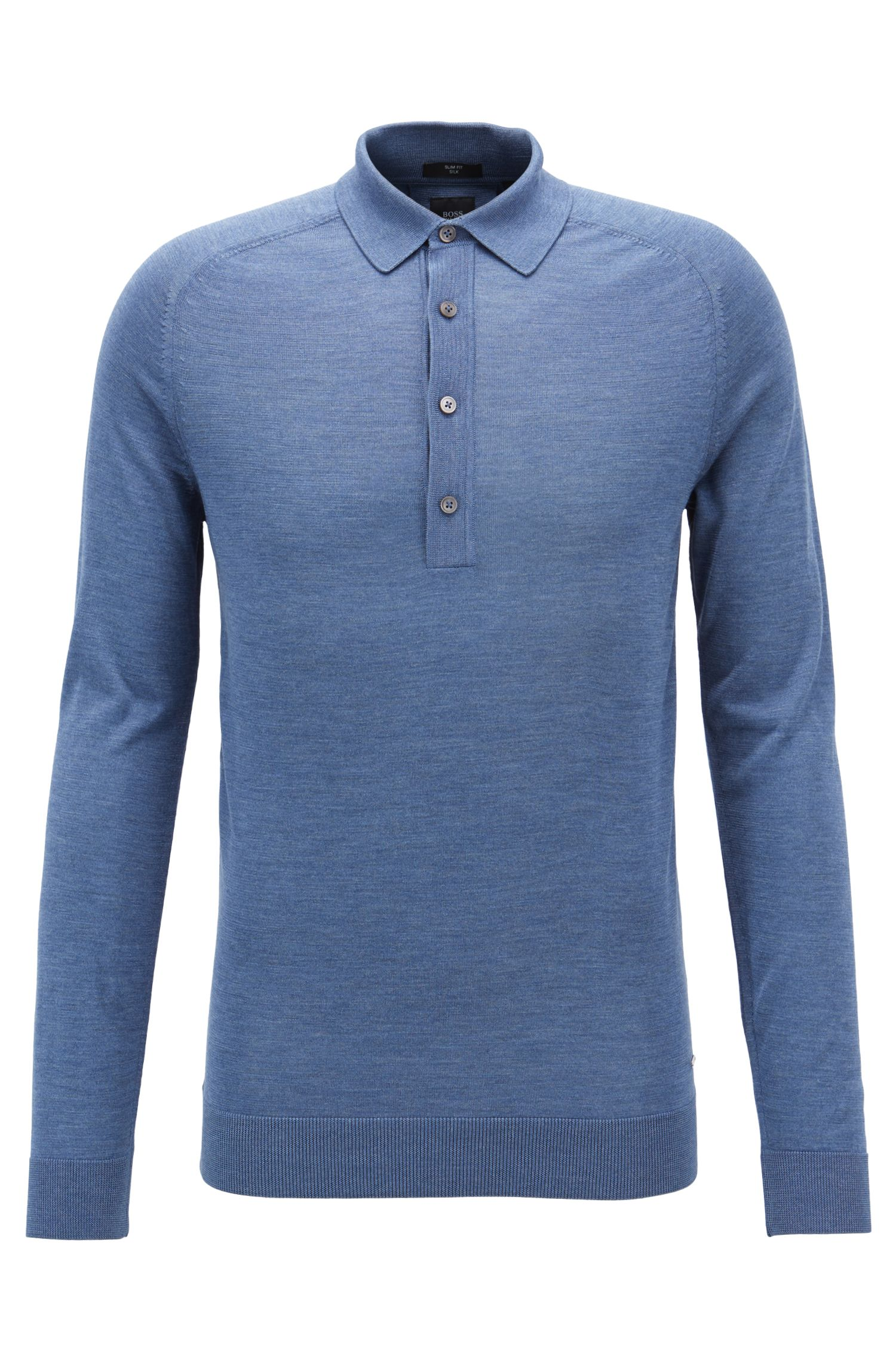Slim-fit long-sleeved polo shirt in silk, Open Blue