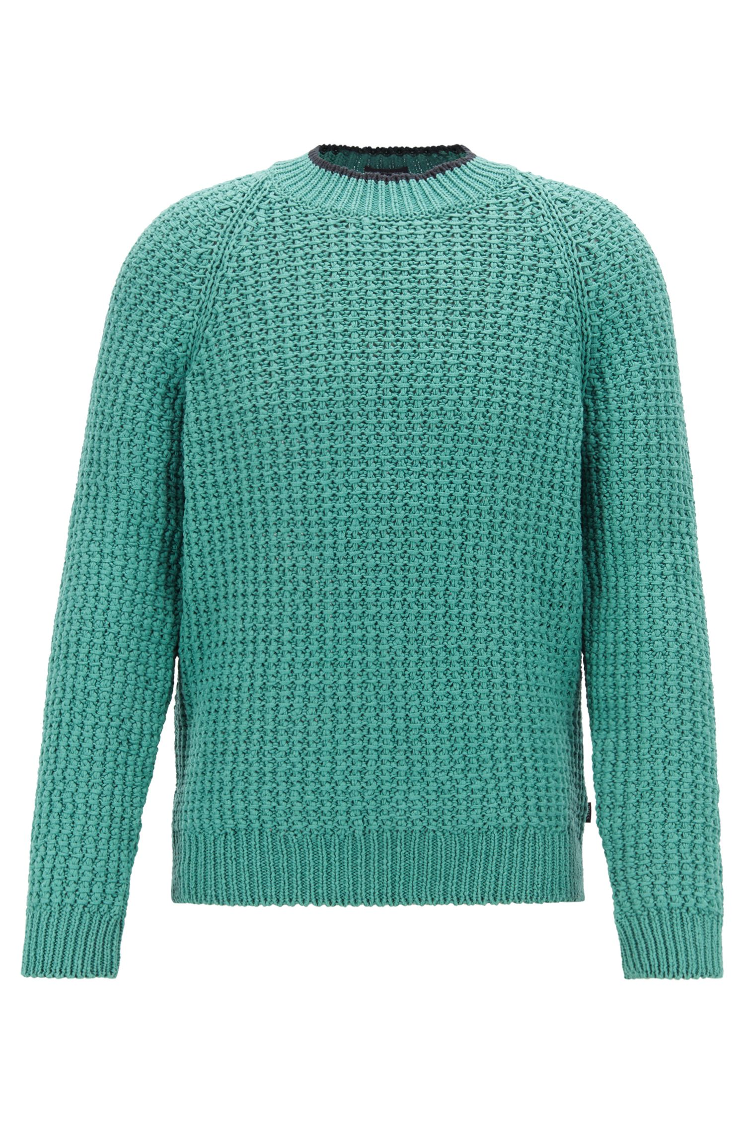 Crew-neck sweater in knitted cotton with contrast tipping, Open Green