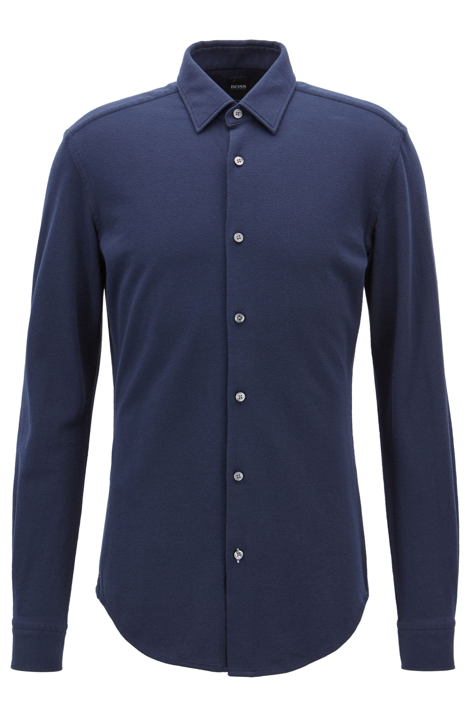 Slim-fit shirt in textured crepe jersey, Open Blue