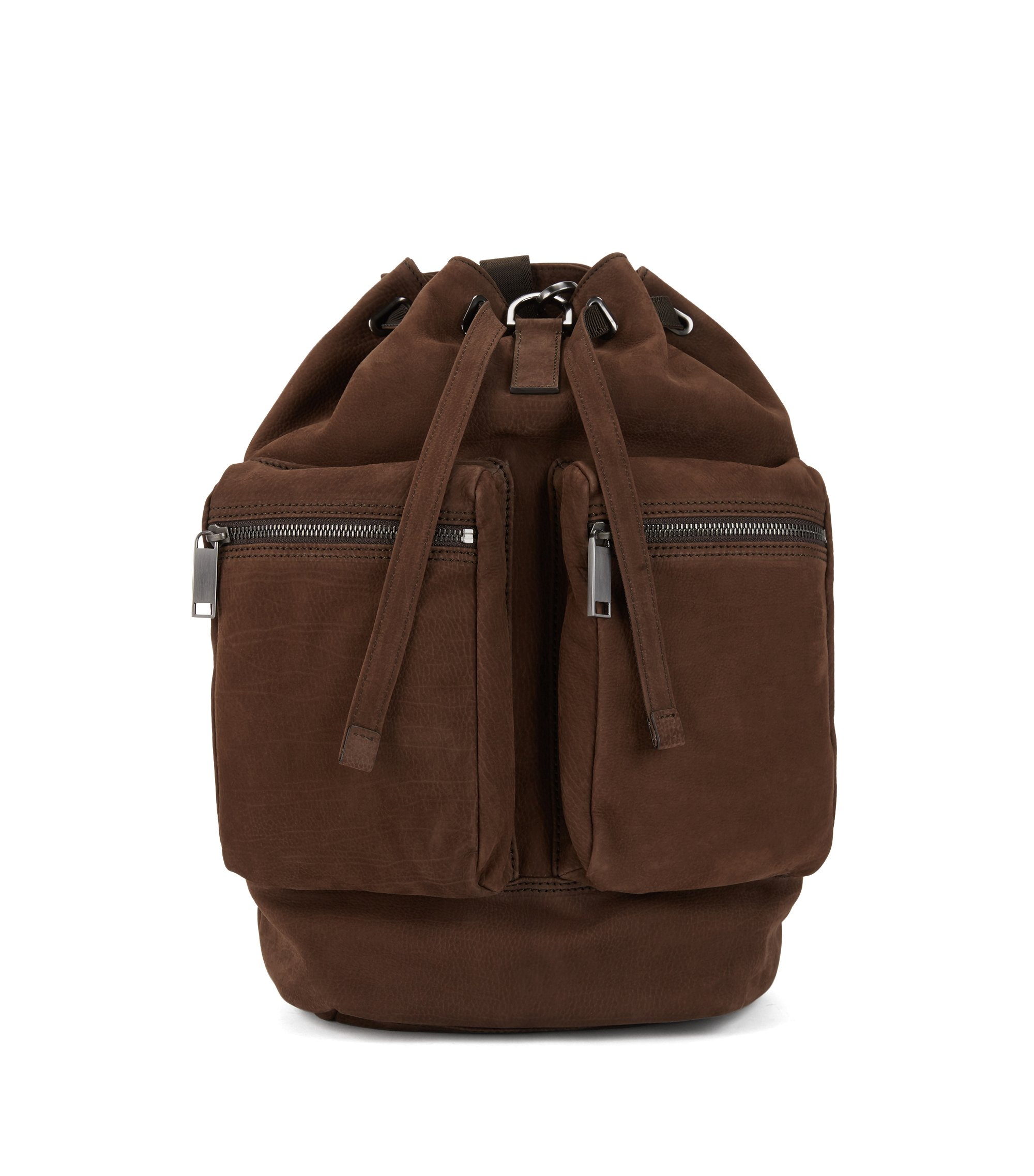 Fashion Show Capsule backpack in grainy calf leather, Dark Brown