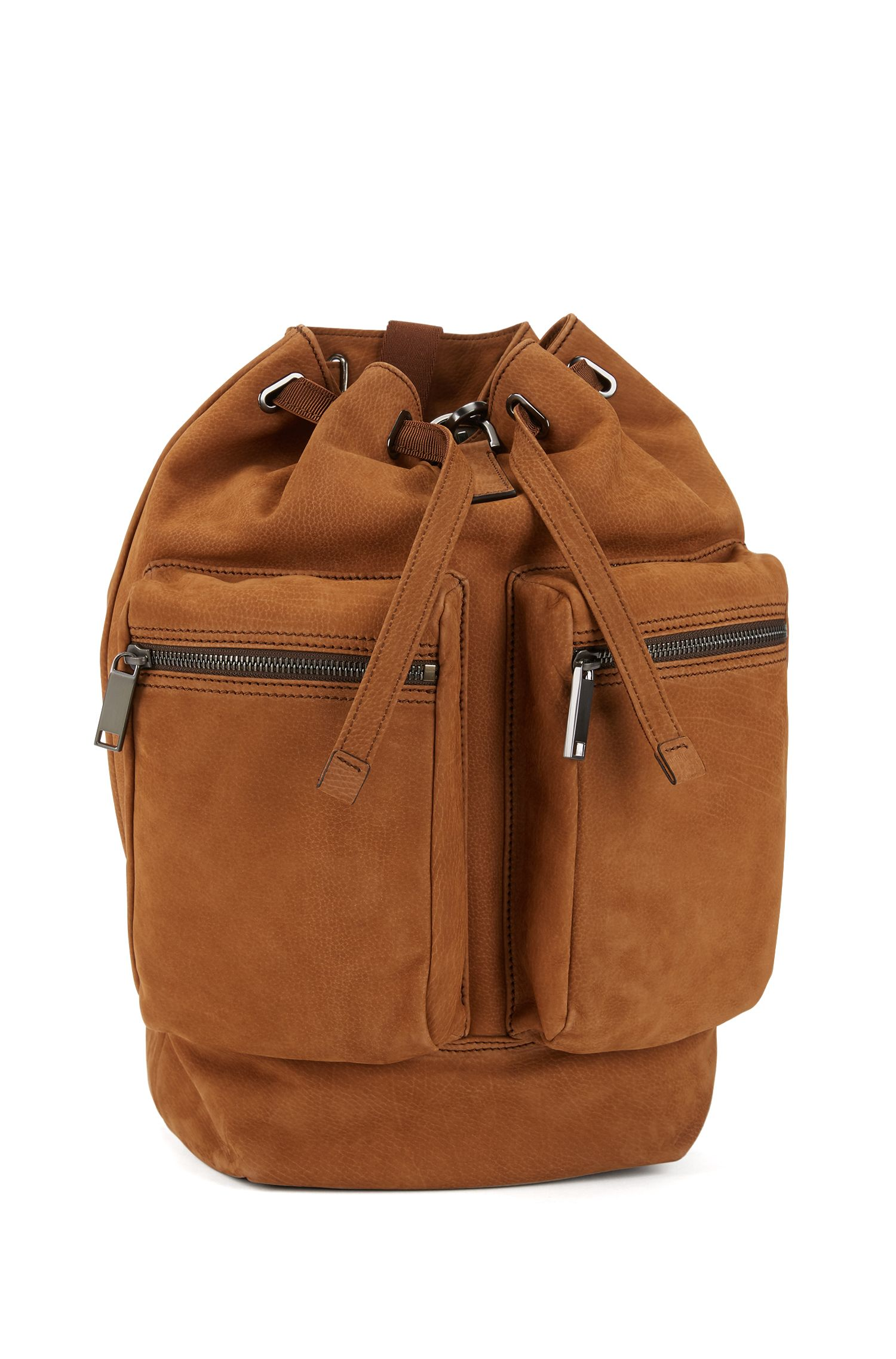Fashion Show Capsule backpack in grainy calf leather, Khaki