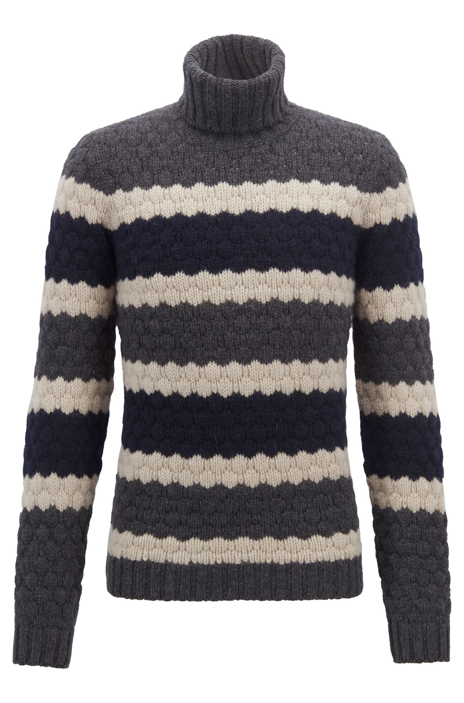 Fashion Show Capsule turtleneck sweater with structured stripe, Open Grey
