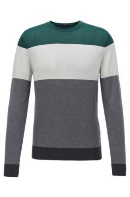 Regular-fit sweater in color-block silk, Grey
