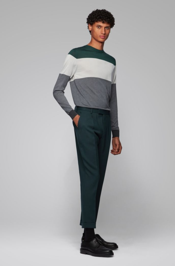 Regular-fit sweater in color-block silk