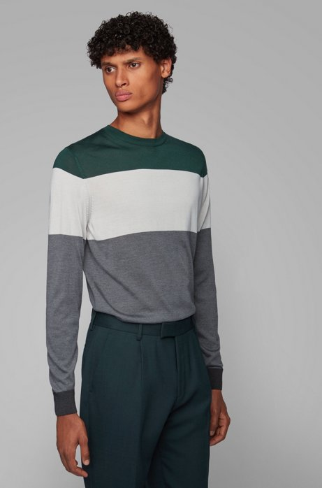 Regular-fit sweater in color-block silk, Grey