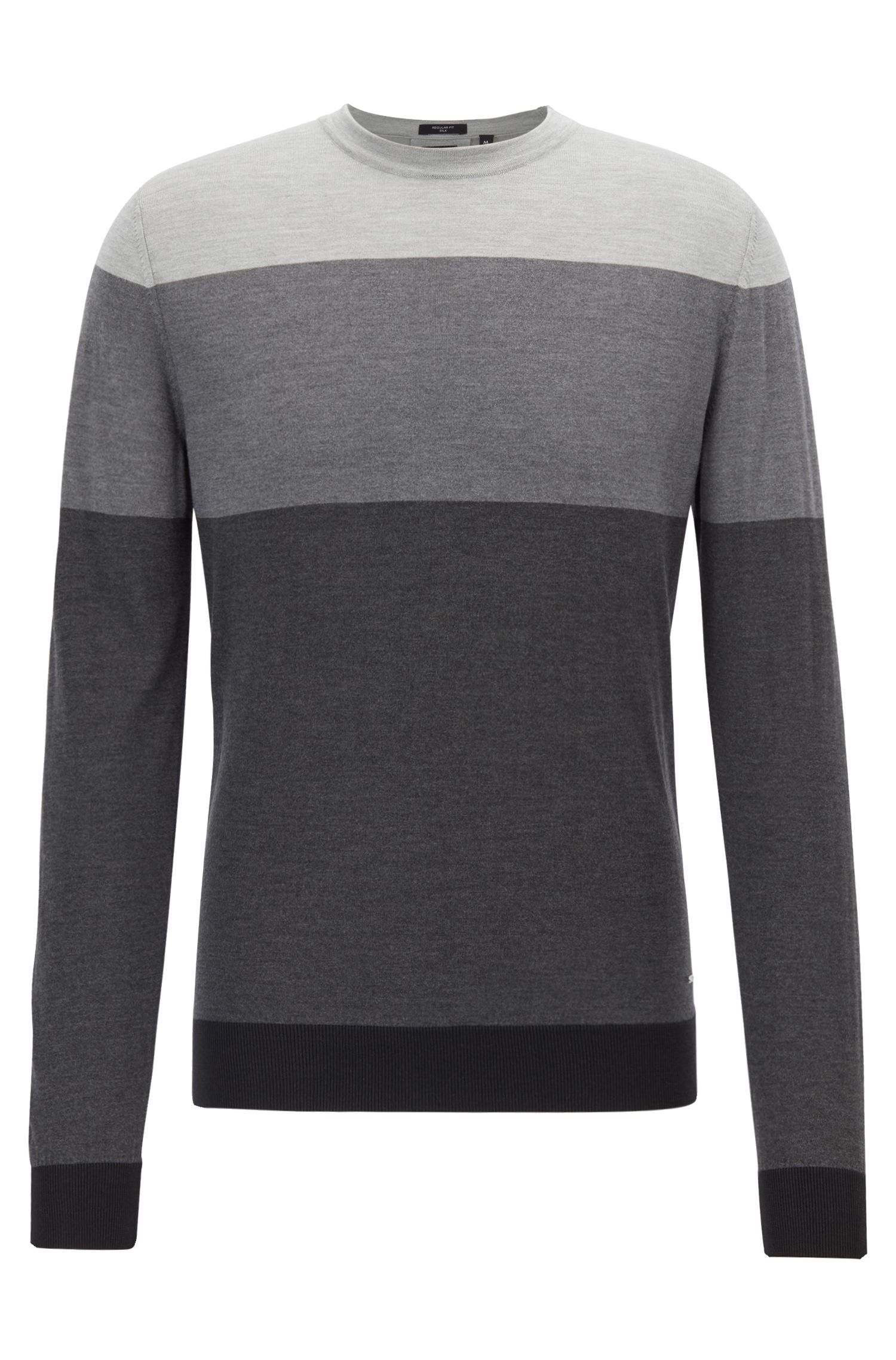 Regular-fit sweater in color-block silk, Open Grey