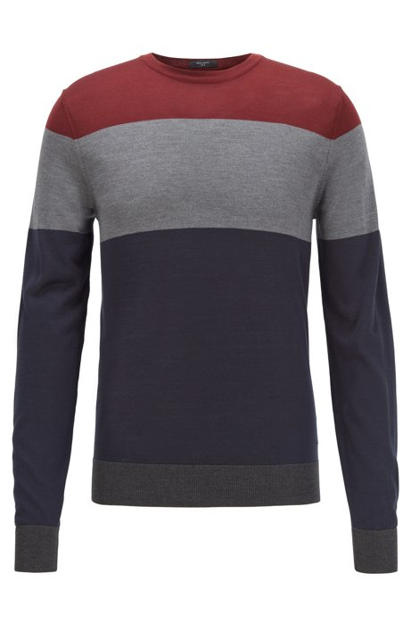 Regular-fit sweater in color-block silk, Dark Blue