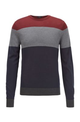 Regular-fit sweater in color-block silk, Dark Blue