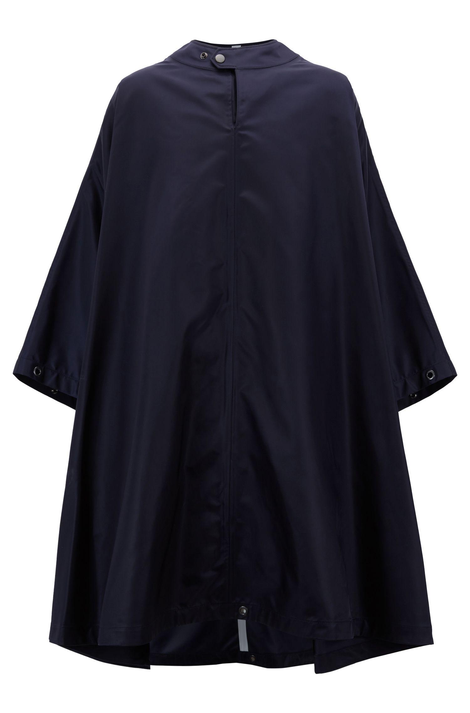Fashion Show Capsule cape in technical fabric, Dark Blue
