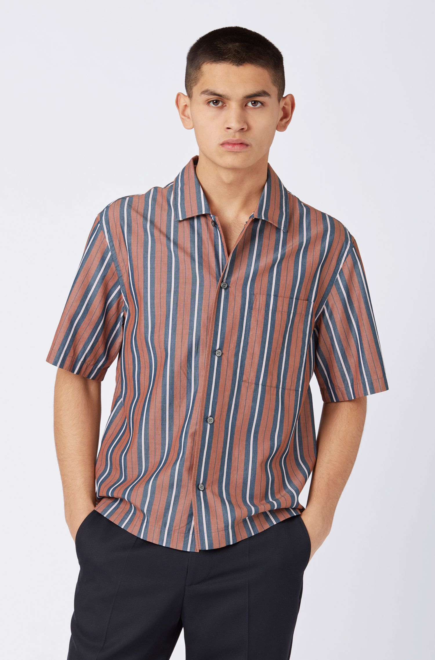 Relaxed-fit striped shirt with camp collar, Brown