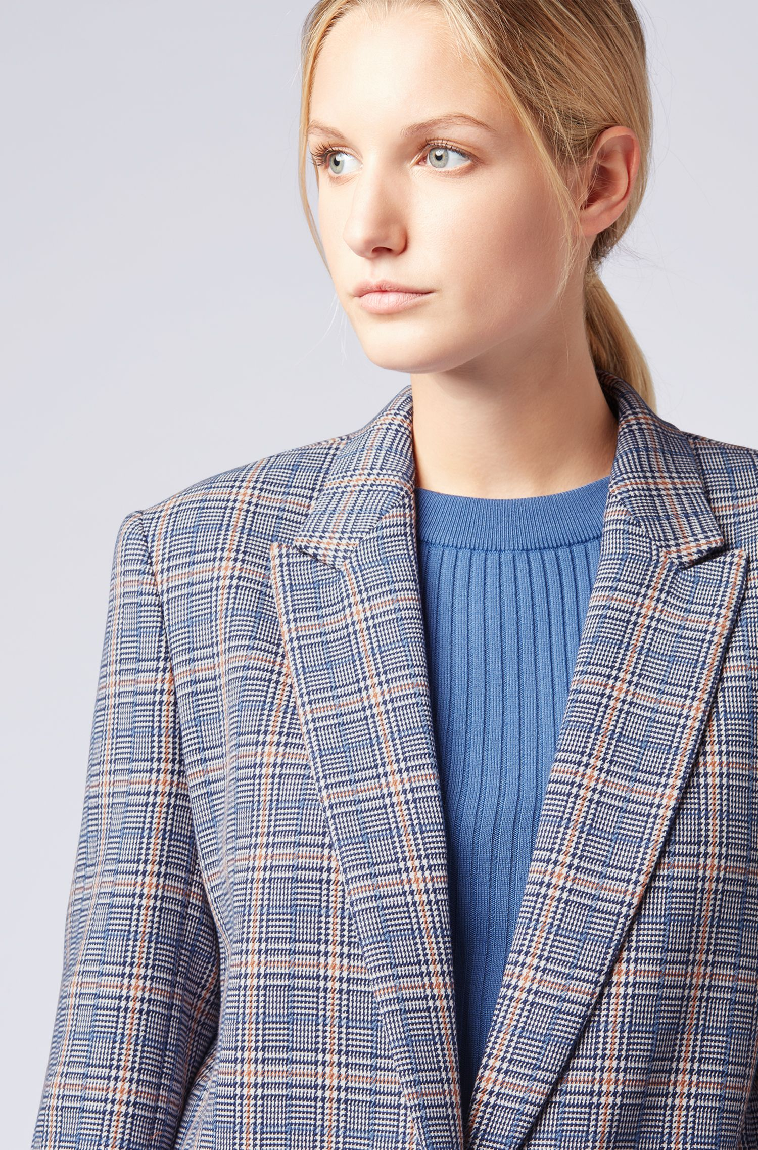 Relaxed-fit boyfriend jacket in a checked cotton blend, Patterned