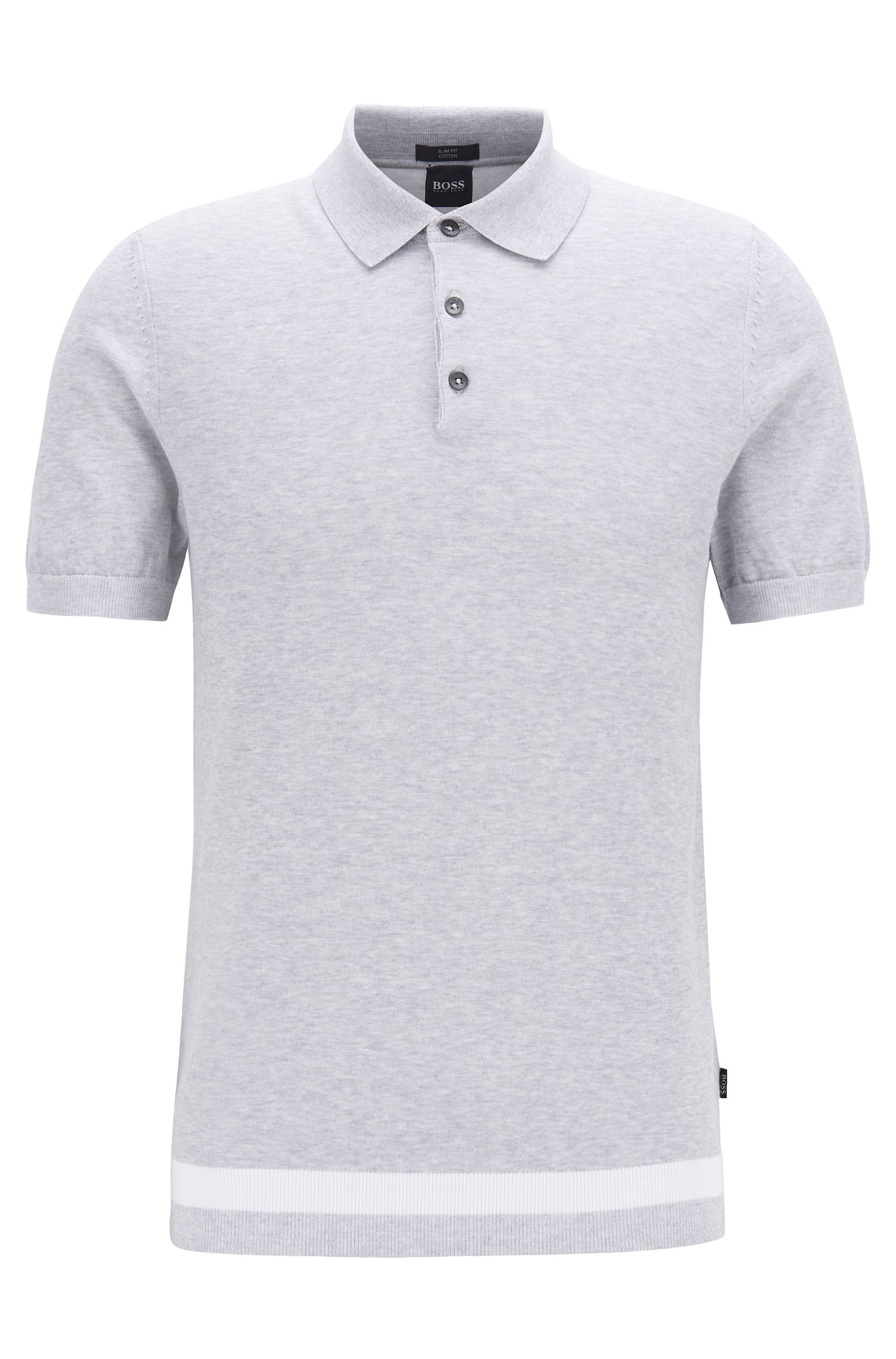 Slim-fit polo-style sweater in mouliné cotton, Open Grey