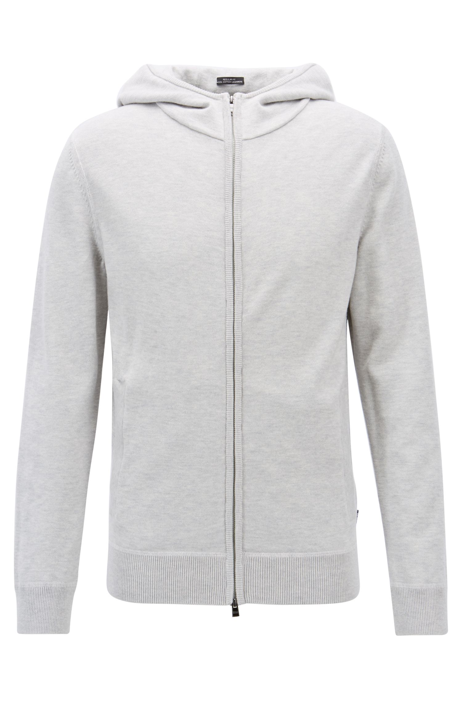 Zippered hoodie in wool, cotton, and cashmere, Open Grey