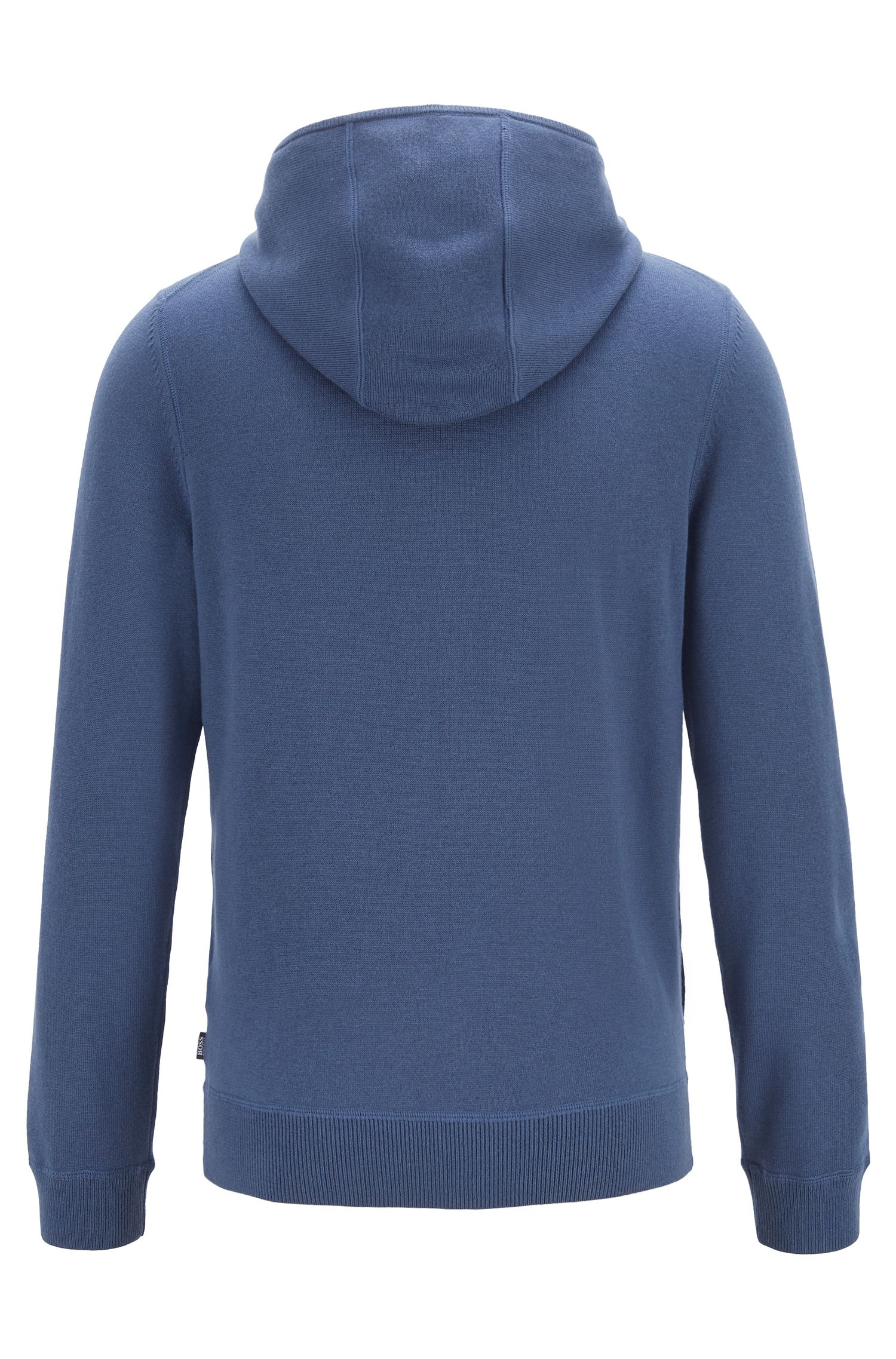 Zippered hoodie in wool, cotton, and cashmere, Open Blue