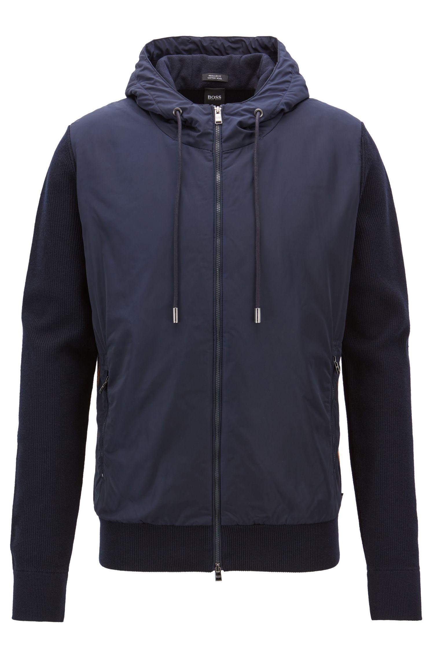 Regular-fit zip-through sweatshirt in wool-cotton blend, Dark Blue