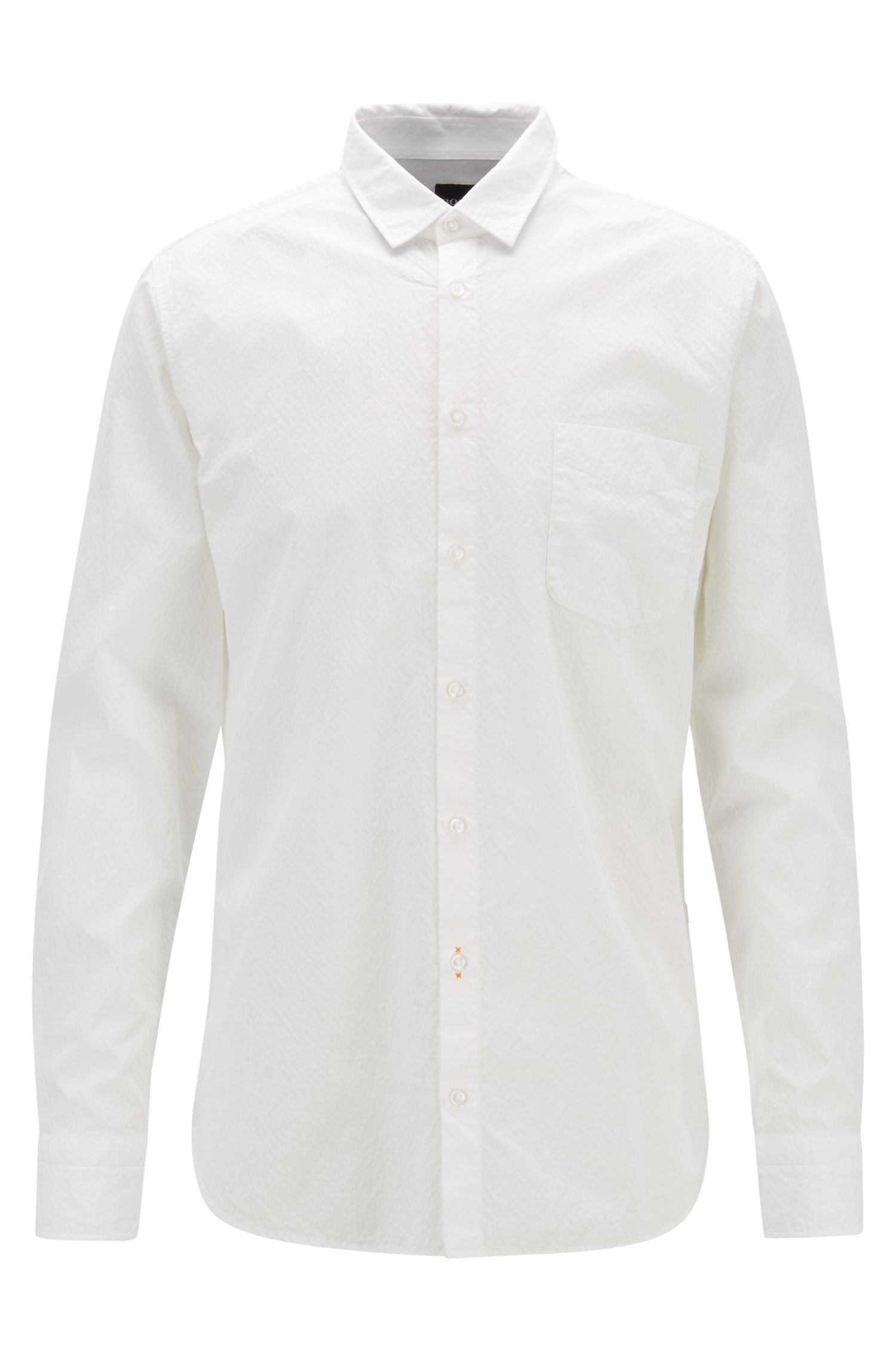 Dobby slim-fit shirt in eco-friendly bleached cotton, Natural