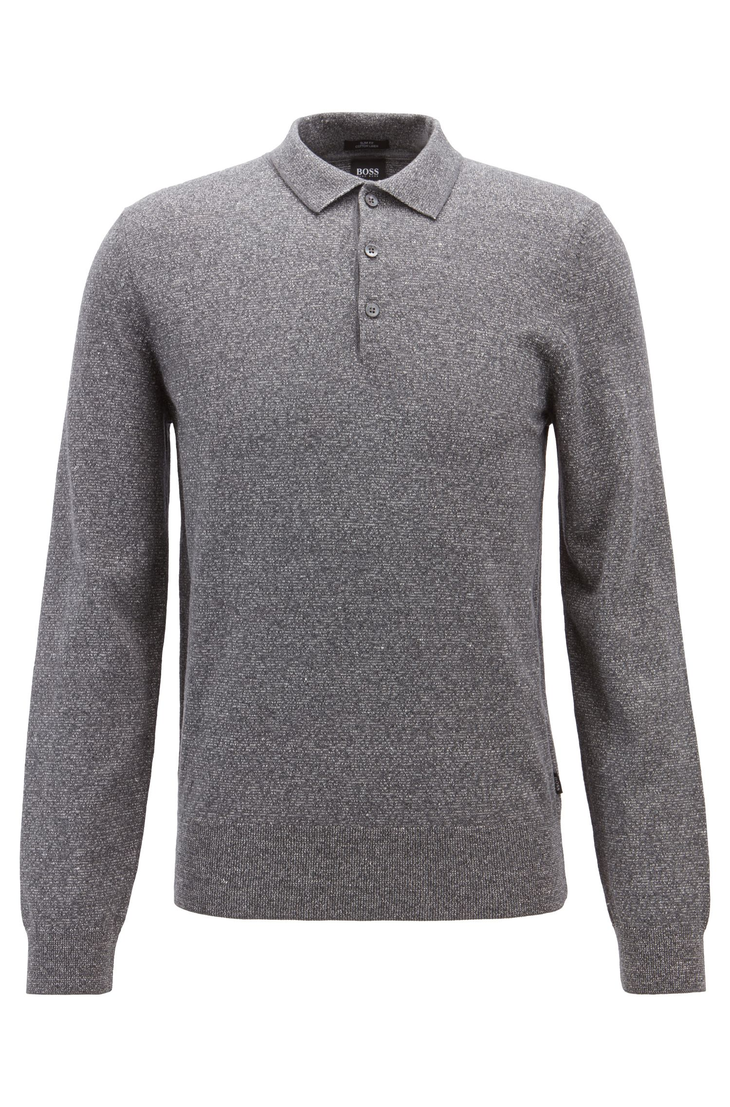 Slim-fit knitted sweater in a cotton-linen blend, Grey