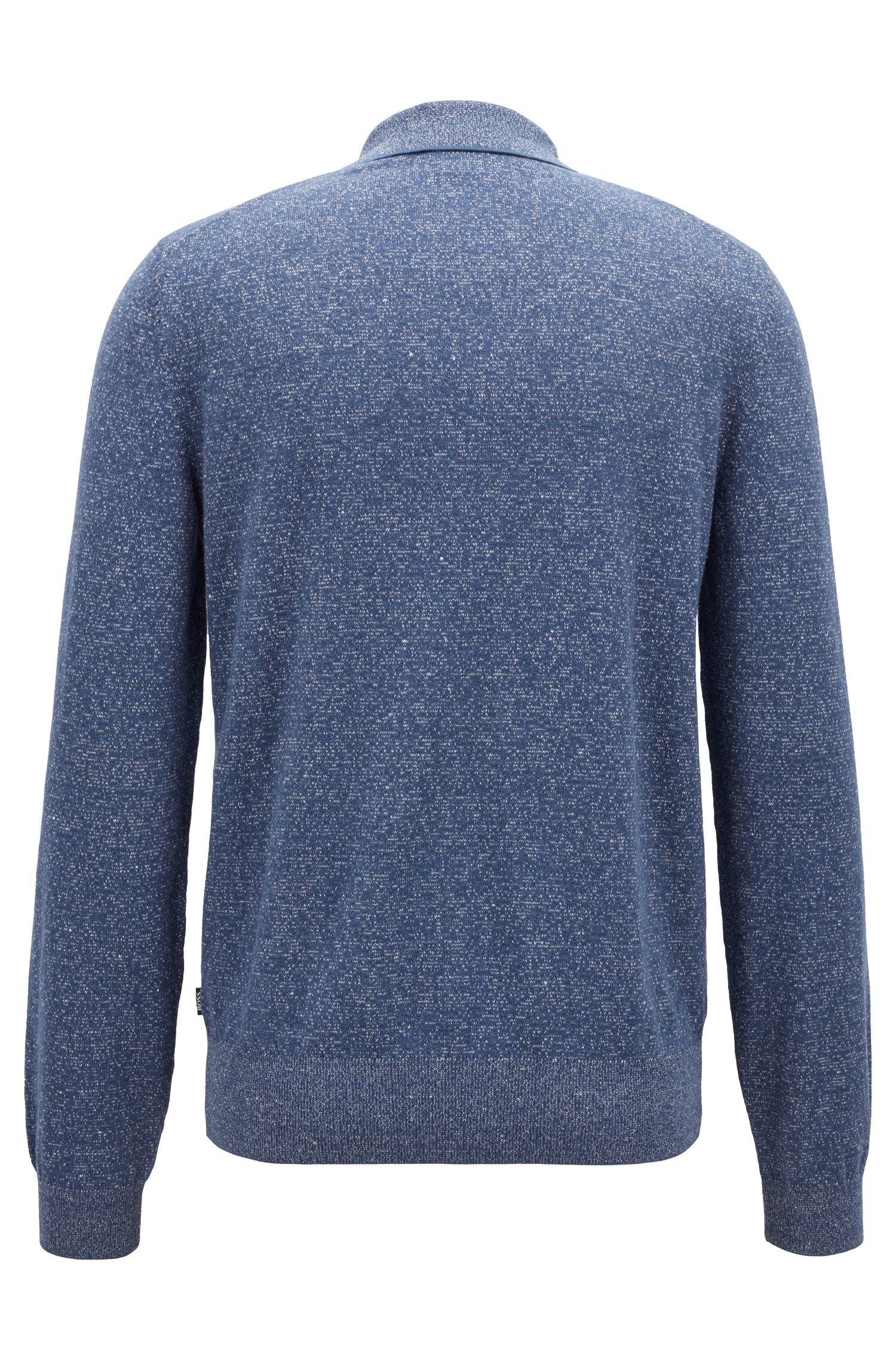 Slim-fit knitted sweater in a cotton-linen blend, Open Blue