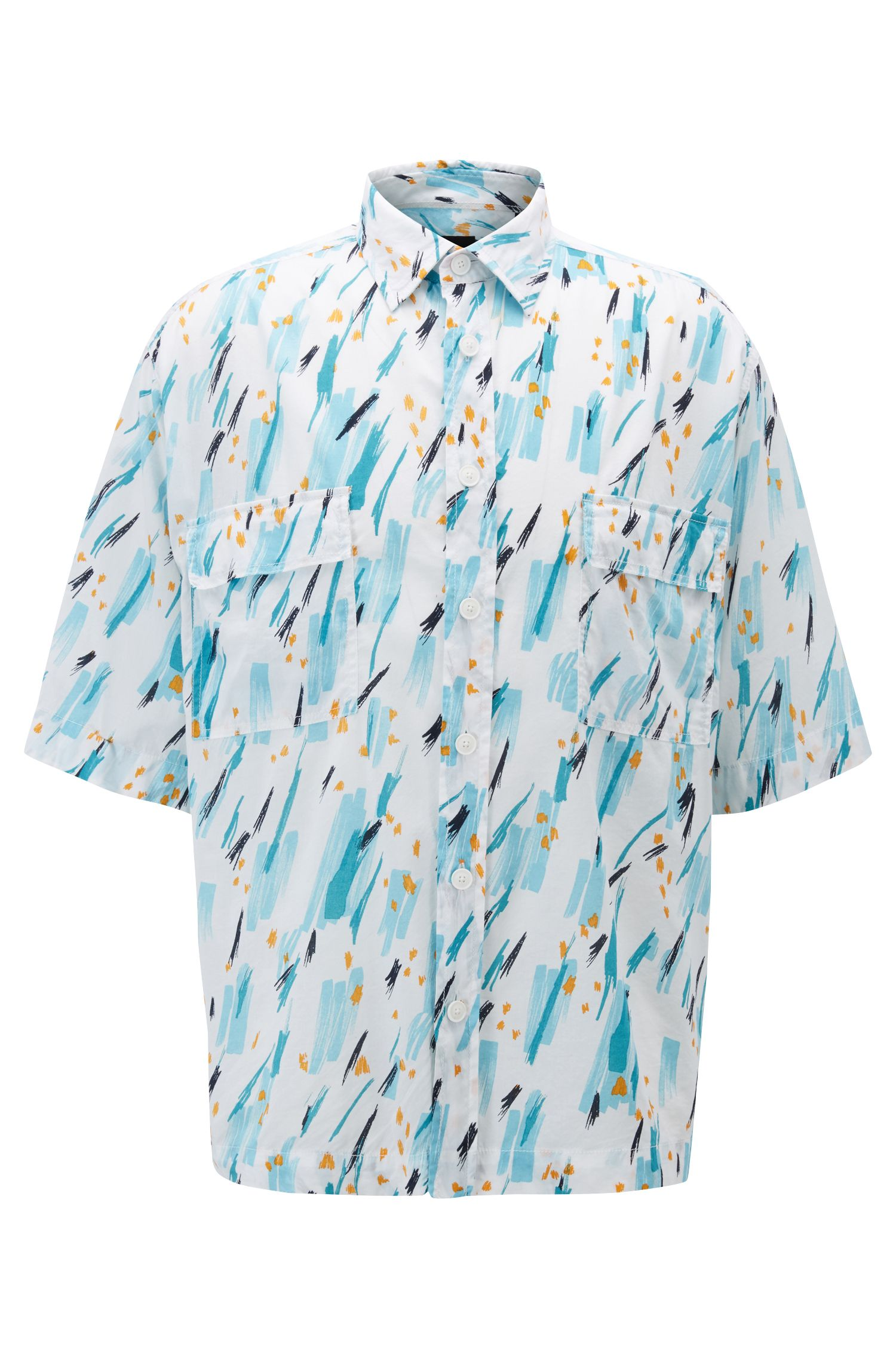 Relaxed-fit shirt with hand-drawn print, Open Blue