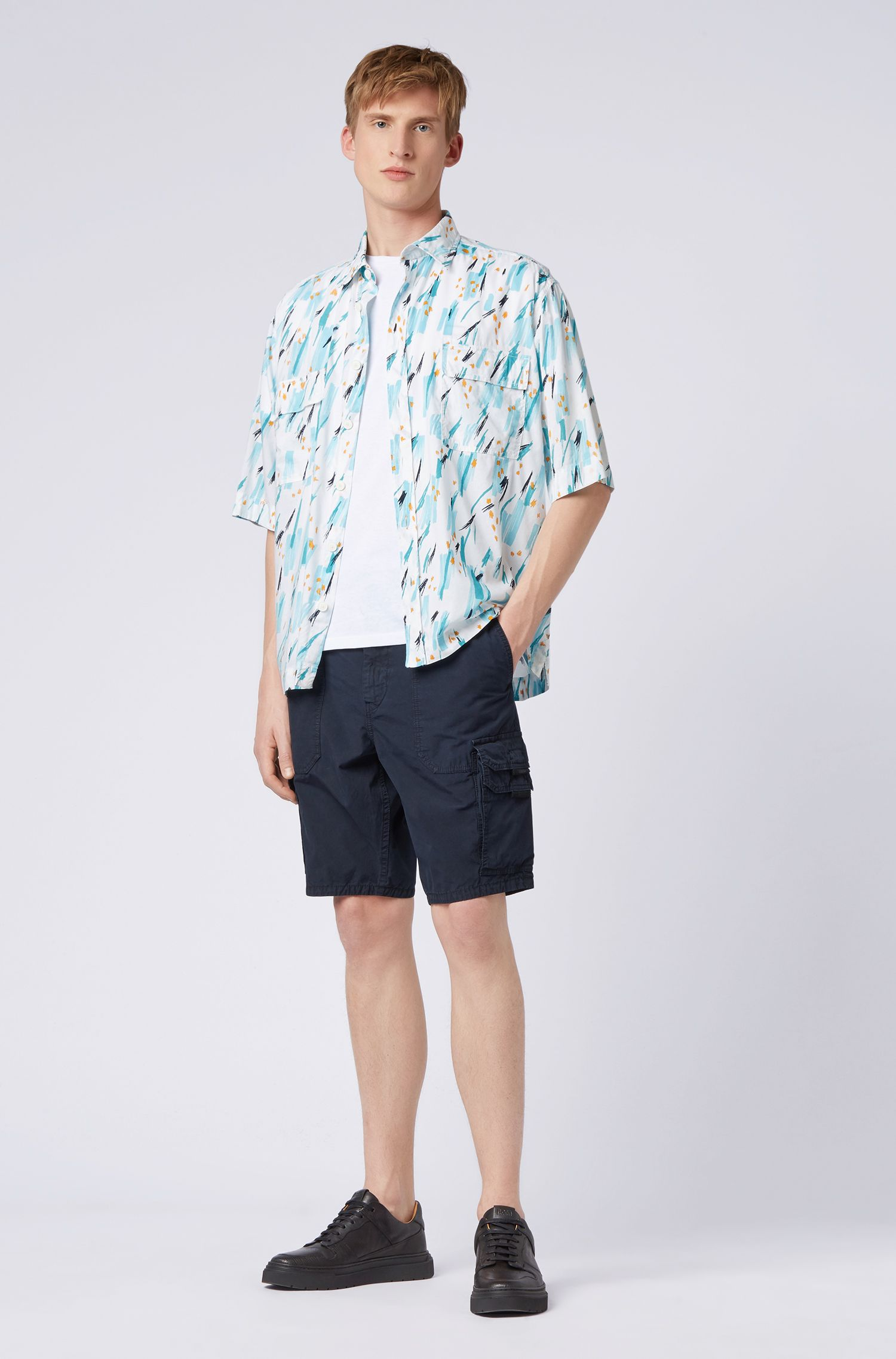 Tapered-fit shorts in cotton poplin with double pockets, Dark Blue
