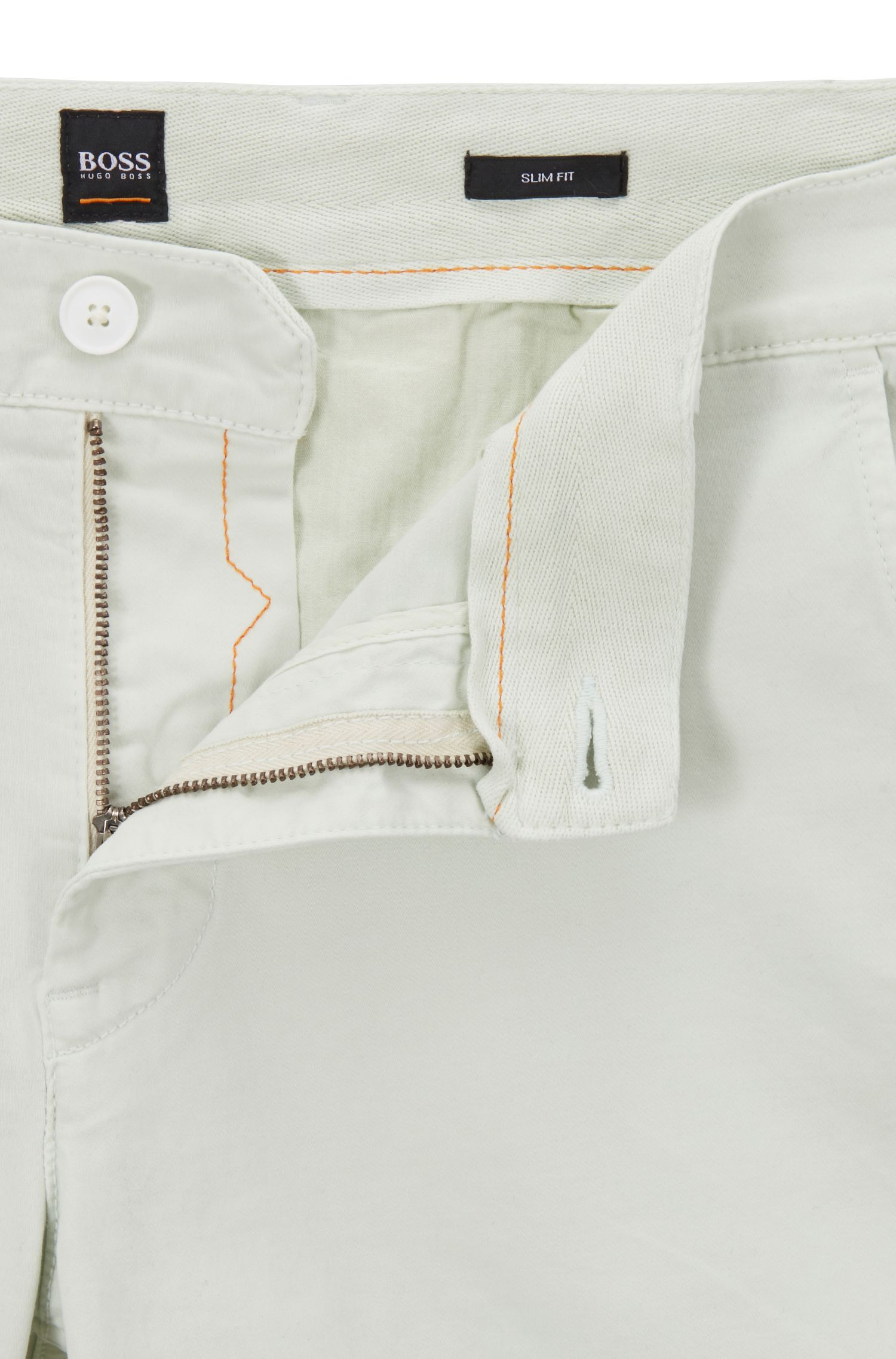 Slim-fit chino shorts in double-dyed stretch satin, Light Green