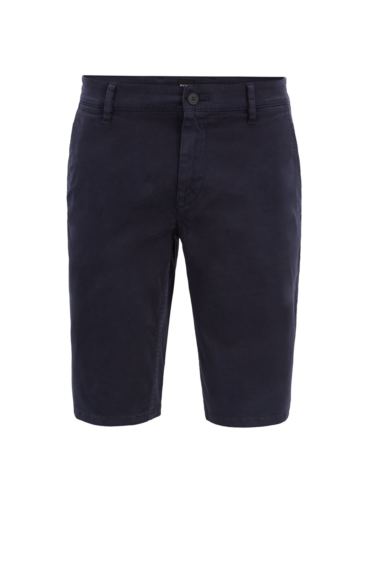 Slim-fit chino shorts in double-dyed stretch satin, Dark Blue
