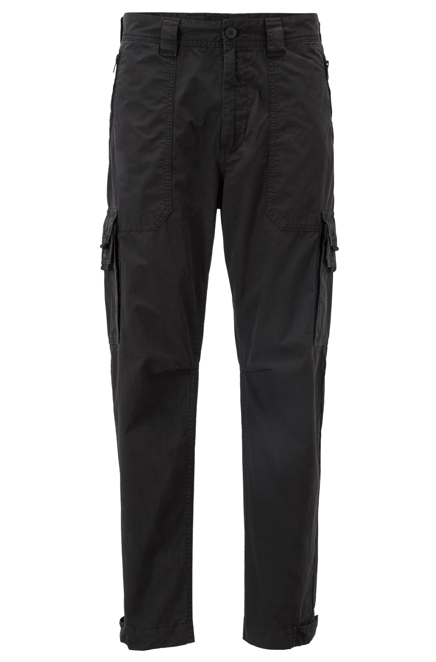 Tapered-fit cargo trousers in double-dyed cotton poplin, Black