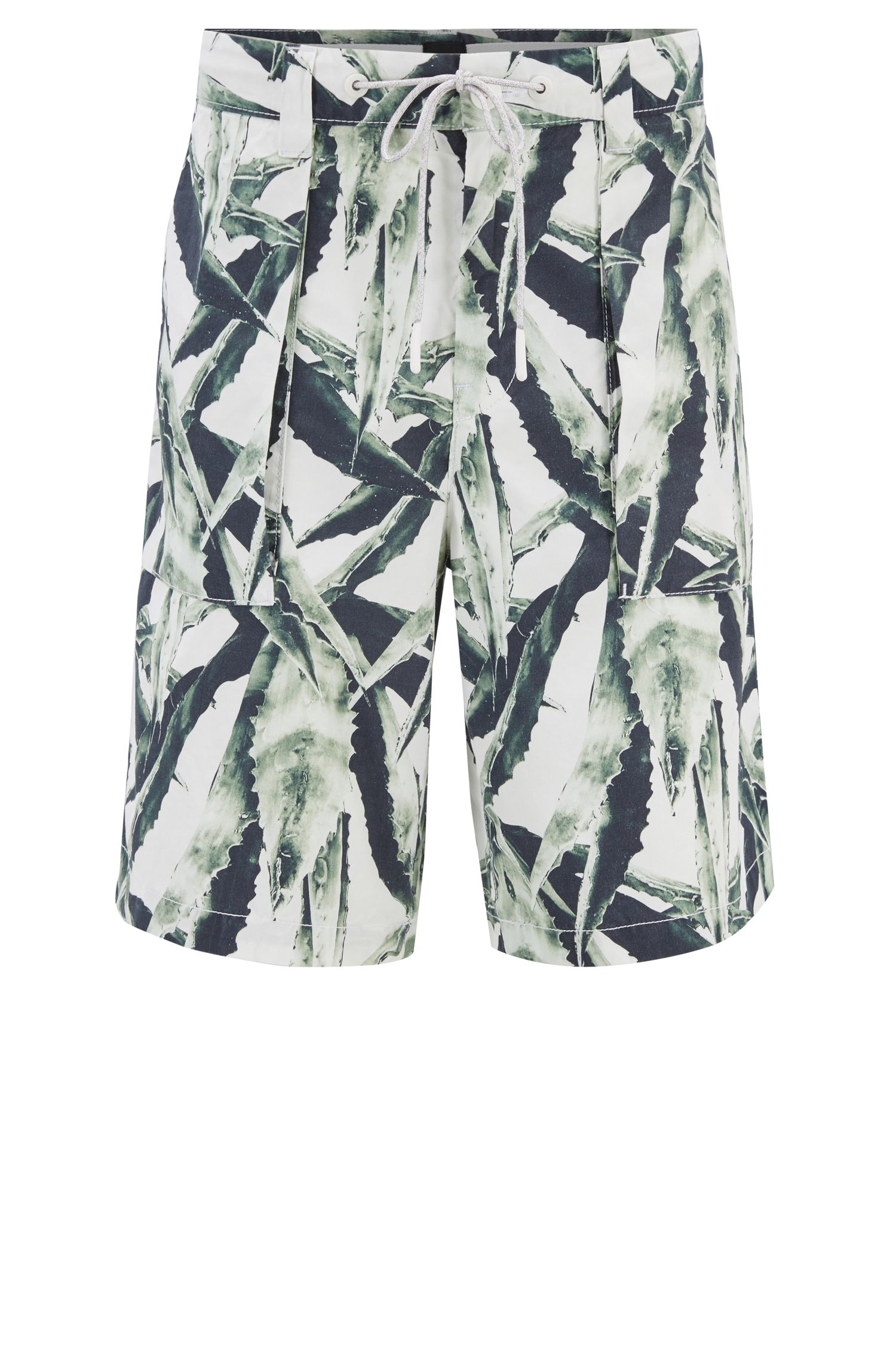 Relaxed-fit shorts in printed cotton poplin, White