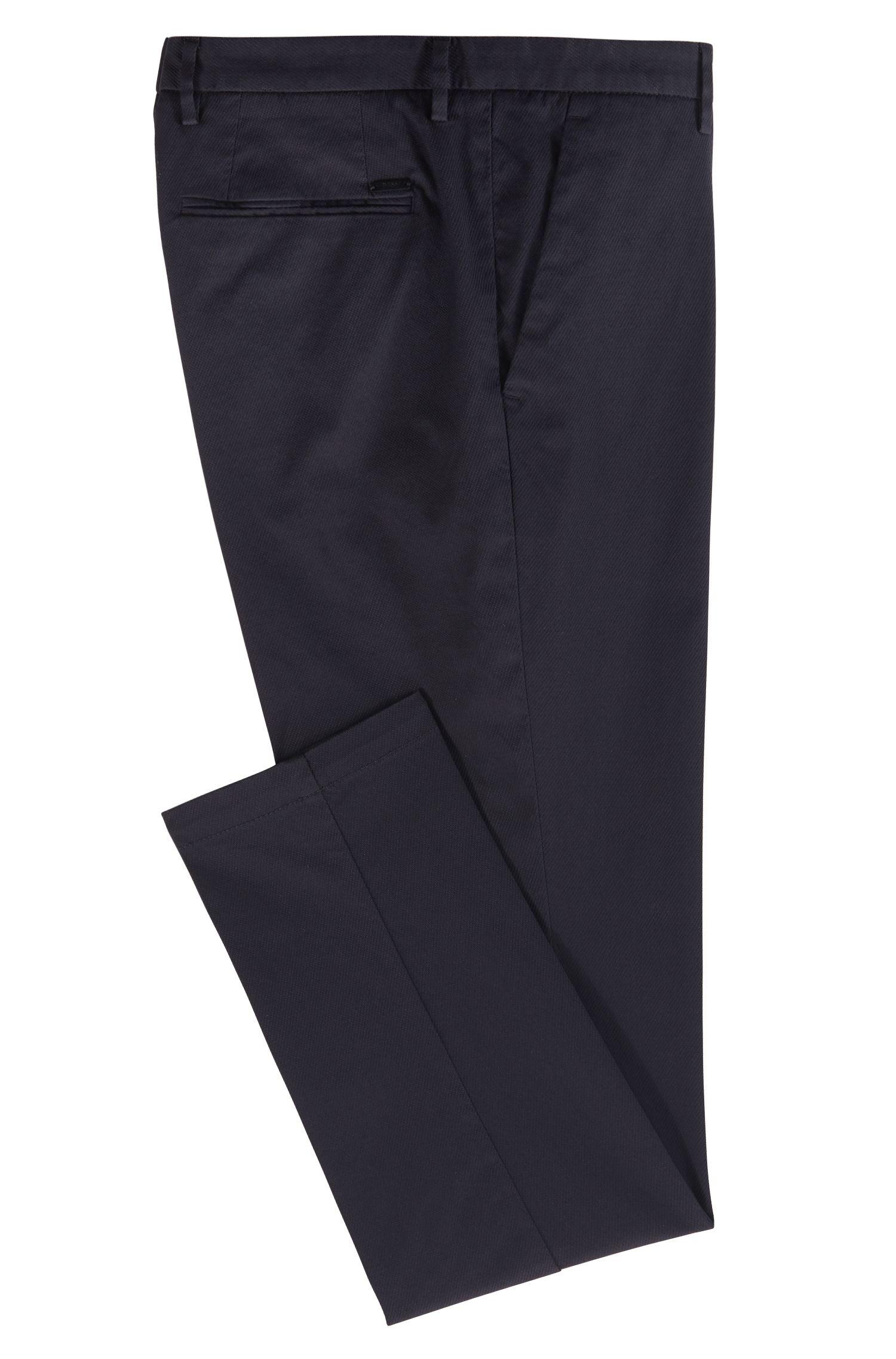 Slim-fit chinos in lightly structured stretch cotton, Dark Blue