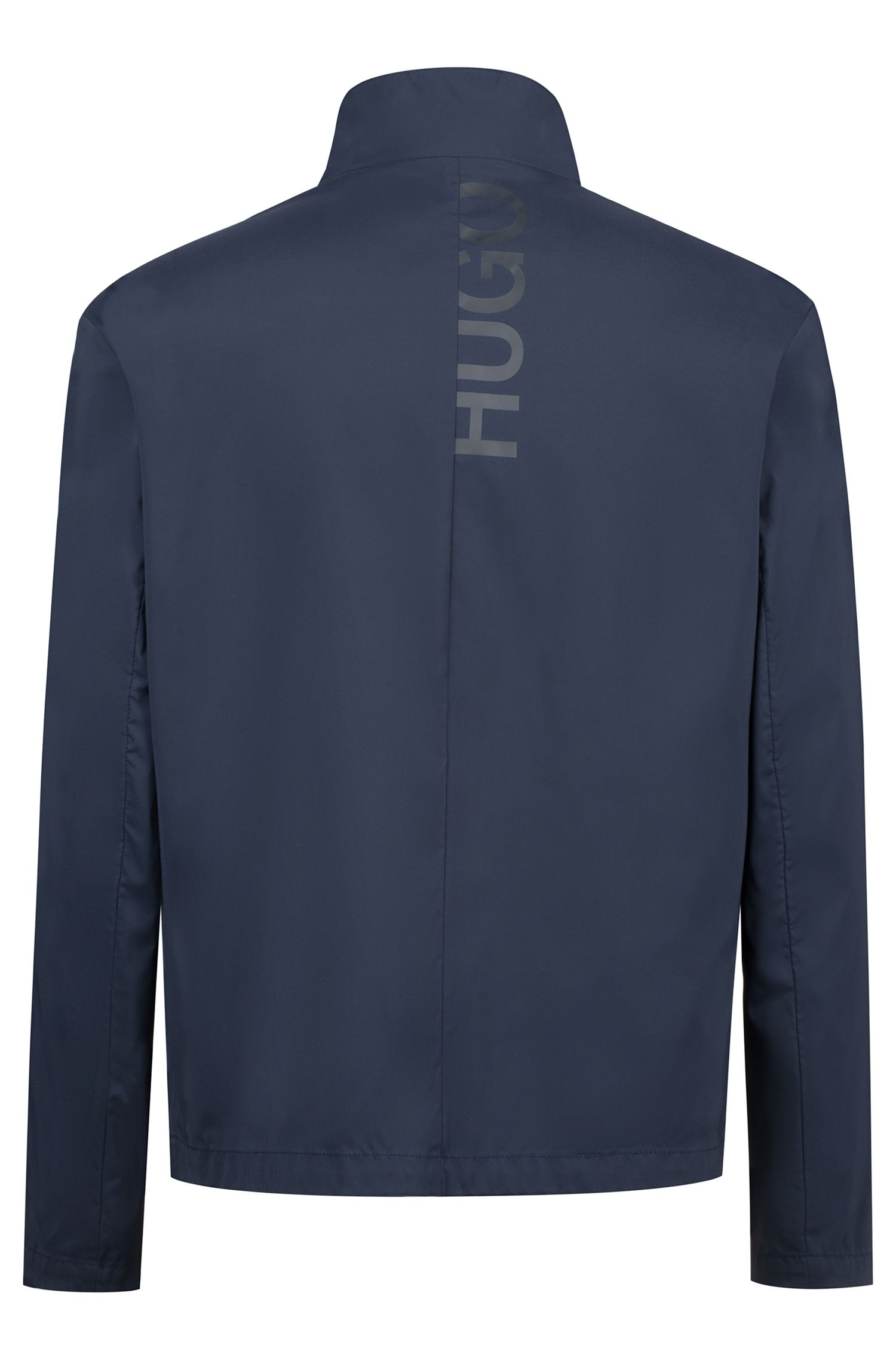 Water-repellent slim-fit jacket with cropped logo details, Dark Blue