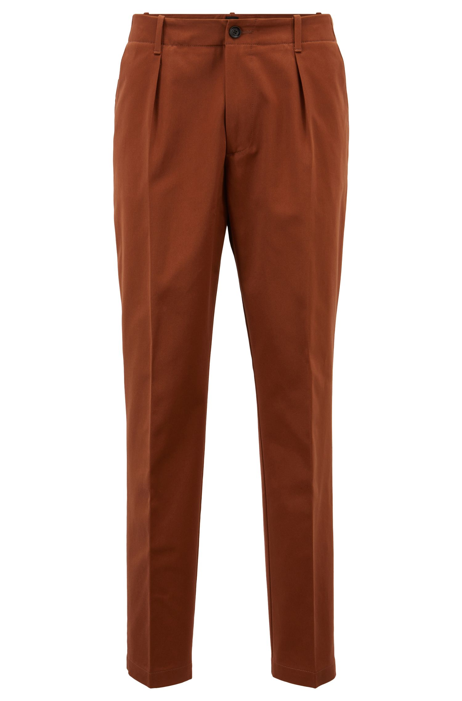 Relaxed-fit pants in cotton gabardine with patched pockets, Brown