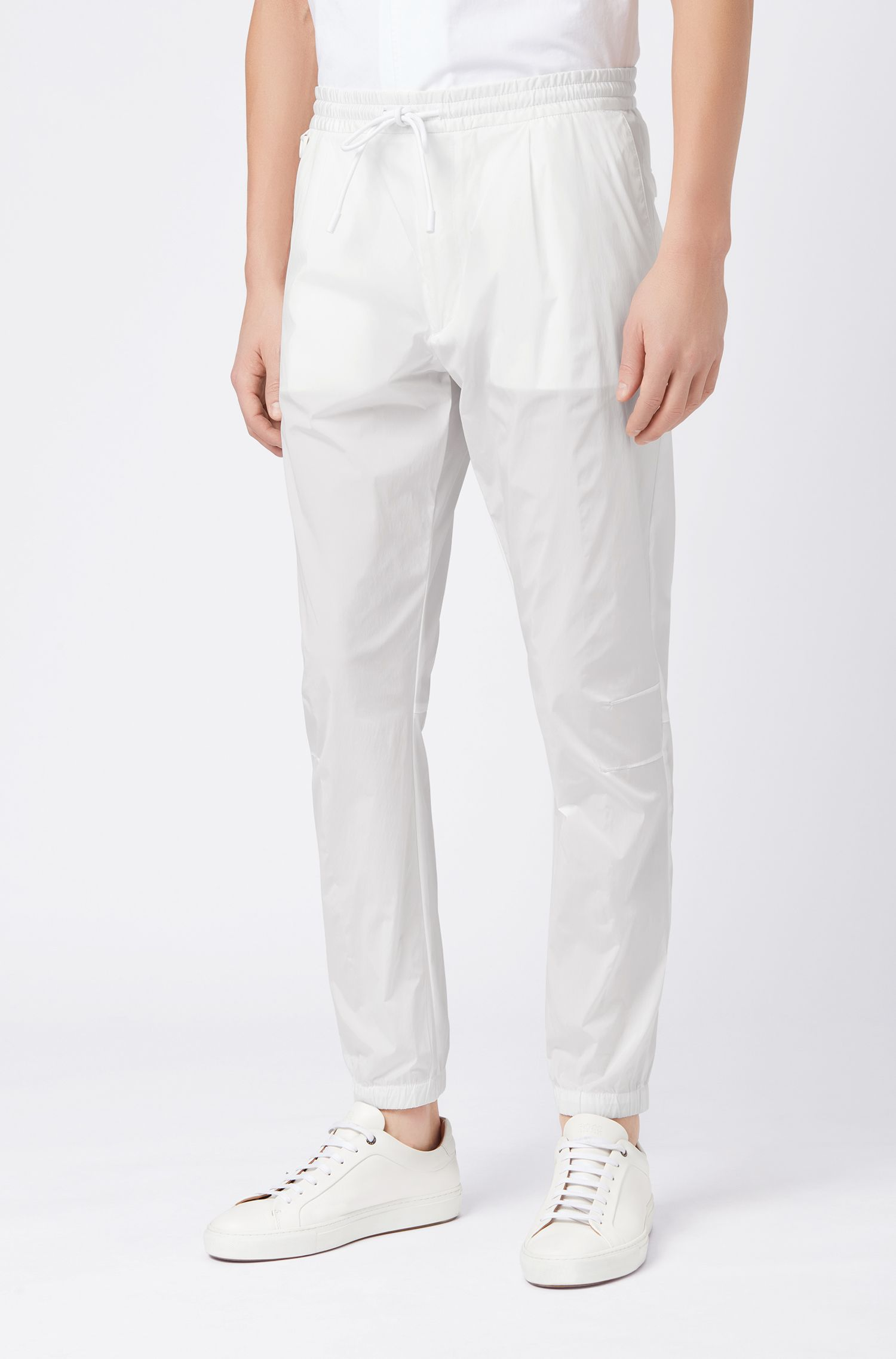 Relaxed-fit pants in stretch fabric with drawstring waist, White