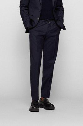 Slim-fit pants in virgin wool with drawstring waist, Dark Blue