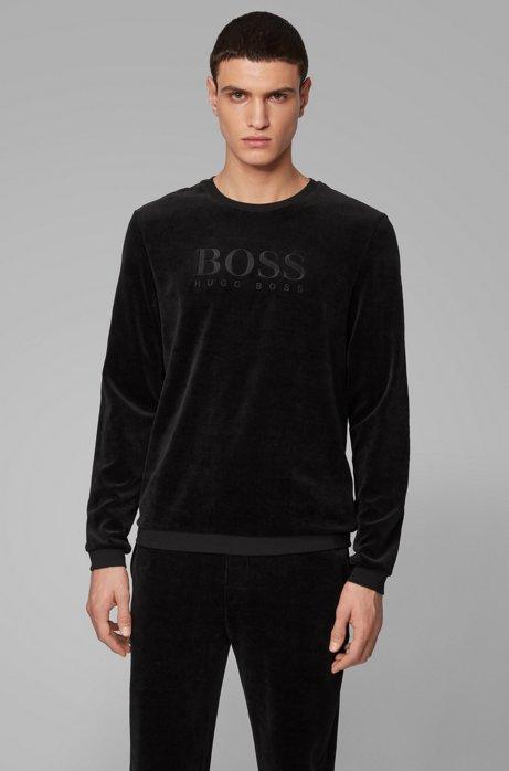 Loungewear logo sweatshirt in cotton-blend velour, Black