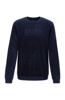 Loungewear logo sweatshirt in cotton-blend velour, Dark Blue