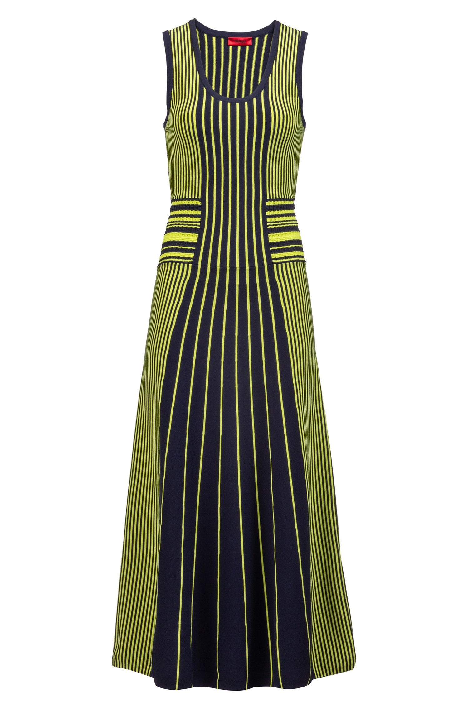Sleeveless knitted dress with mixed stripes, Patterned