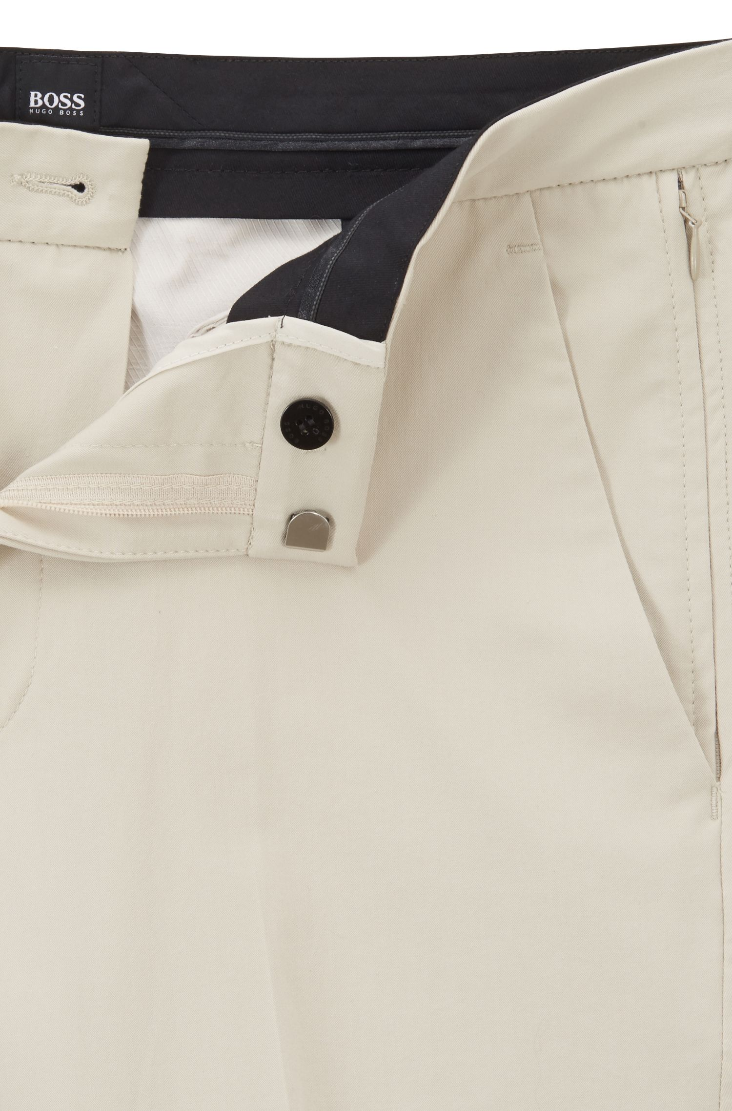 Slim-fit chinos in Italian stretch cotton with zippered pockets, Light Beige